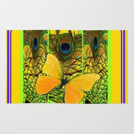 ART NOUVEAU YELLOW BUTTERFLY PEACOCK FEATHERS Rug