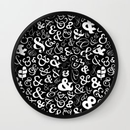 Ampersands - Black & White Wall Clock