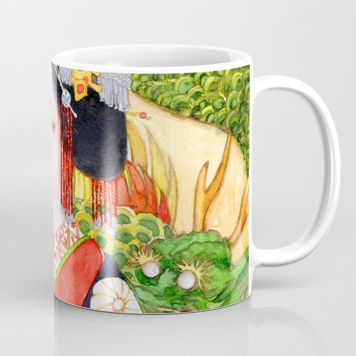 Watercolor Japanese Beauty - Oiran Coffee Mug