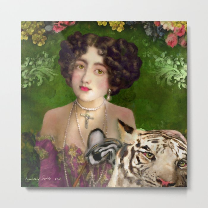 The Madame Blanchefleur Apolline brings a White Tiger to the Feast of the Epiphany Metal Print