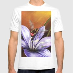 Fly on flower 10 MEDIUM White Mens Fitted Tee