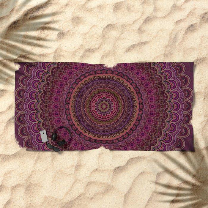 Dark purple mandala Beach Towel