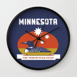 Minnesota - Redesigning The States Series Wall Clock