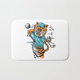 Tiger golfer WITH cap Bath Mat
