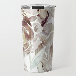 Earthy Painterly Floral Abstract Travel Mug