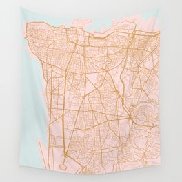 Beirut map Wall Tapestry