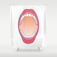 teeth Shower Curtains featuring Teeth by FACTORIE