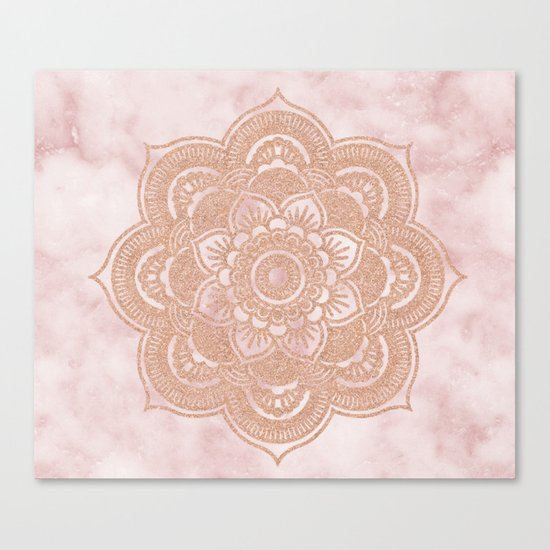 Rose gold mandala - pink marble Canvas Print by Marbleco ...