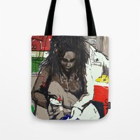 basquiat Tote Bags featuring Basquiat by Helen Syron