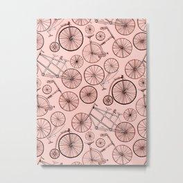 Monochroem Vintage Biycles On Coral Pink Metal Print