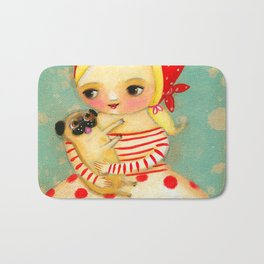 Babushka with pug dog Bath Mat