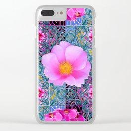 AQUA PINK ROSES & ORCHIDS GREEN-BLACK ART Clear iPhone Case