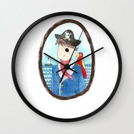 Captain and his parrot | watercolor portrait Wall Clock