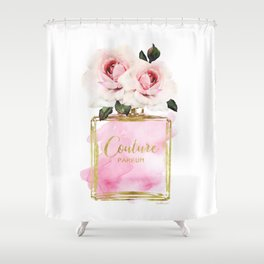 Perfume, Pink, Gold, Fashion, illustration, Roses, Amanda Greenwood, watercolor, wall art, make up, Shower Curtain