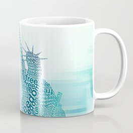 Typographic Statue of Liberty - Aqua Blue Coffee Mug