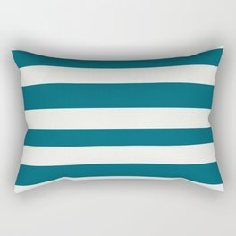 Off White and Tropical Dark Teal Inspired by Sherwin Williams 2020 Trending Color Oceanside SW6496 Hand Drawn Fat Horizontal Line Pattern Rectangular Pillow