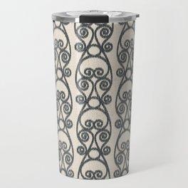 Crackled Scrolled Ikat Pattern - Cream Ink Black Travel Mug