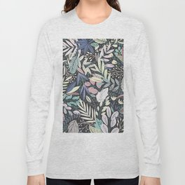Modern abstract pink ivory black floral illustration Long Sleeve T-shirt