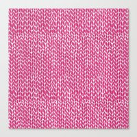 Hand Knit Hot Pink Canvas Print