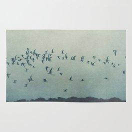 birds blue Rug