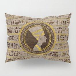 Pyrographed Golden Nefertiti on wood Pillow Sham