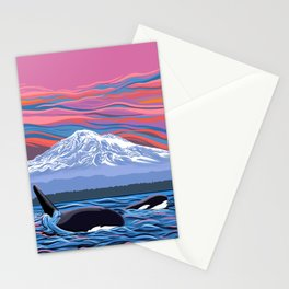 Orcas Under the Pink Sky Stationery Cards
