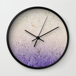 cream roses with purple shade Wall Clock