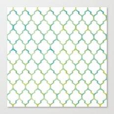 Green, Yellow & Turquoise Lantern Arabesque Pattern Canvas Print