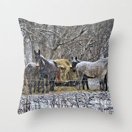 Feeding in The Snow Throw Pillow