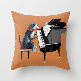 Piano lesson with Angel Throw Pillow