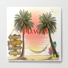 Hawaiian Tropical Sunset Metal Print