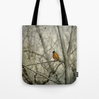 robin Tote Bags featuring Robin by Dorothy Pinder