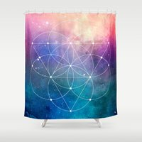 sacred geometry Shower Curtains featuring Sacred Geometry Universe by Nick Kask Design Co