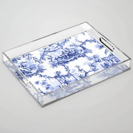 Blue Chinoiserie Toile Acrylic Tray