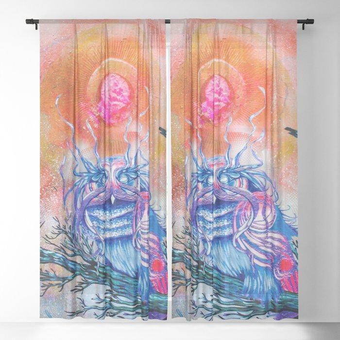 """G0d king owl"" animal art , bird art . Surrealism Sheer Curtain"