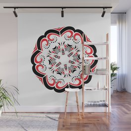 Floral Black and Red Round Ornament Wall Mural