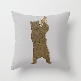 Bear and Bugle Throw Pillow