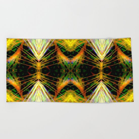Yellow Bright Rays,Fractal Art Beach Towel