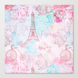 I love Paris - Vintage  Shabby Chic in pink - Eiffeltower France Flowers Floral Canvas Print