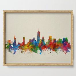 new york skyline watercolor 2 Serving Tray