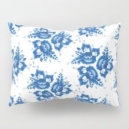 Vintage shabby Chic Seamless pattern with blue flowers and leaves. Vector Pillow Sham