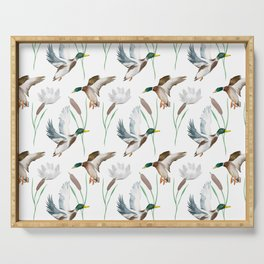 Cute ducks art ,Goose,geese,Birds illustration,pattern  Serving Tray