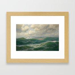 Vintage Ocean Oil Painting by Max Jensen Framed Art Print