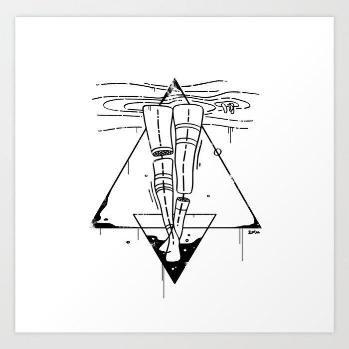 Midnight Bath - Black & White Art Print