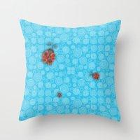 ladybug Throw Pillows featuring Ladybug by JoonMoon