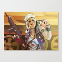 tank girl Canvas Prints featuring Tank Girl by Liam Brazier