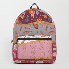 Rolling hills of cats, flowers and feather Backpack