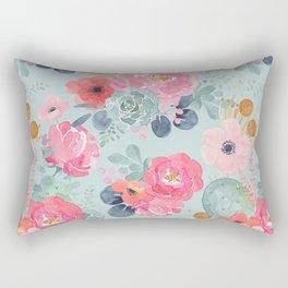 Pink Teal Floral & Succulent Bouquet Rectangular Pillow
