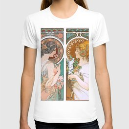 Alphonse Mucha Primrose and Feather T-shirt