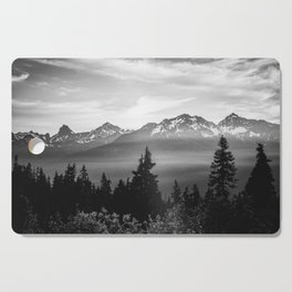 Morning in the Mountains Black and White Cutting Board